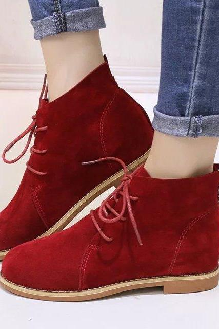Women's Pure Color Hidden Heel Suede Round Toe Cross Strap Dr.Martens Boots