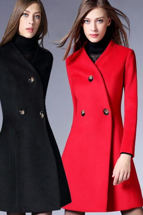Fashion New Slim Button Faux Woolen Coat For Lady (3 Colors)