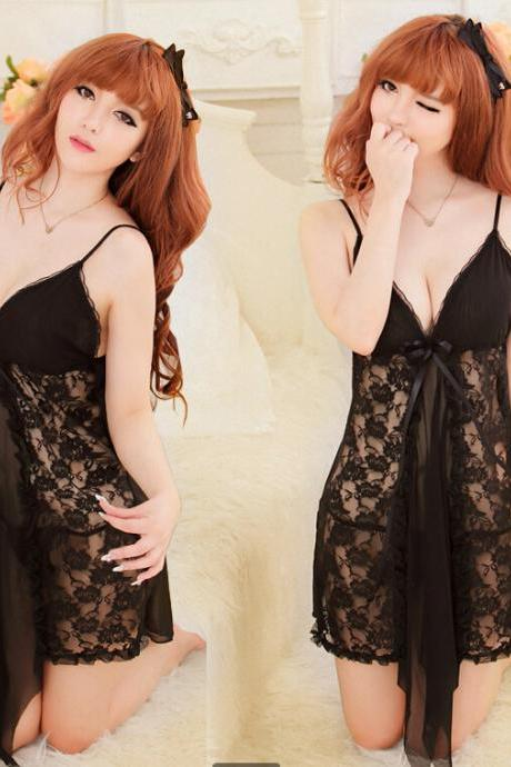 Black Fahion Women's Sexy Sleeping Dress Sleepwear