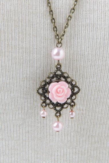 Pink Rose Necklace vintage style necklace, long chain flower necklace, gift for her, pendant necklace, victorian necklace, pink necklace
