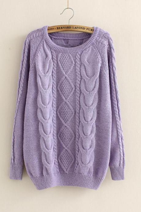 Casual Cabled Pullover Sweaters Fleece In Purple