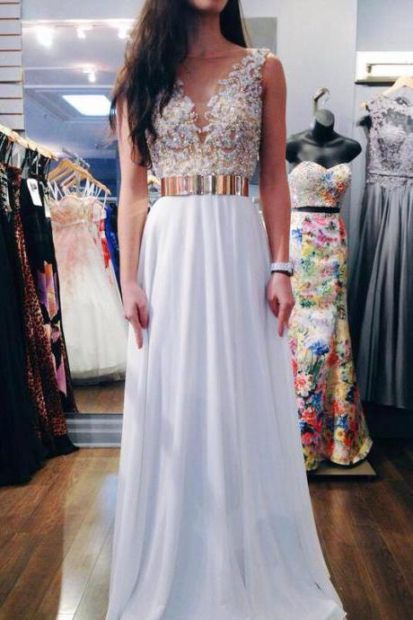 Custom Made Round Neck White Chiffon Prom Dresses With Gold And White Beading