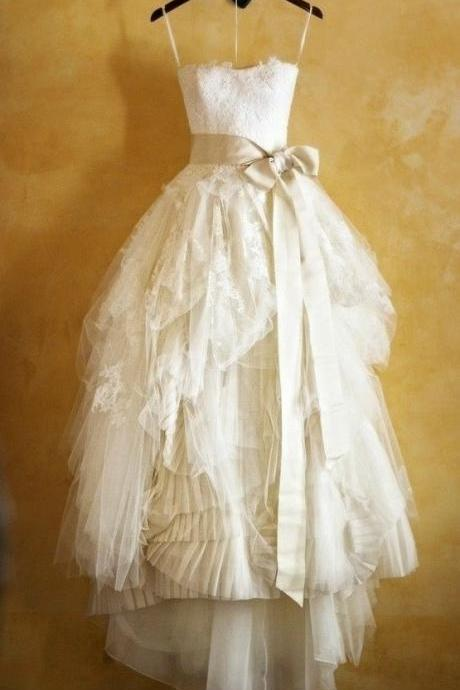 Cheap Lace Wedding Dresses With Sash, Wedding Gowns, Bridal Dresses, Bridal Gowns, Strapless Wedding Dress, Ball Gown Wedding Dress