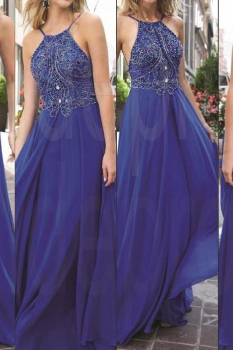 Royal Blue Long Prom Dresses, Straps Prom Gowns,Beaded Evening Dresses, Backless Evening Gowns, Cocktail Dresses Custom