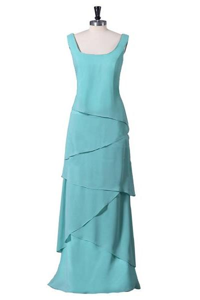 Simple Blue Chiffon Layered Long Prom Dress Bridesmaid Dress Evening Dress Formal Dress