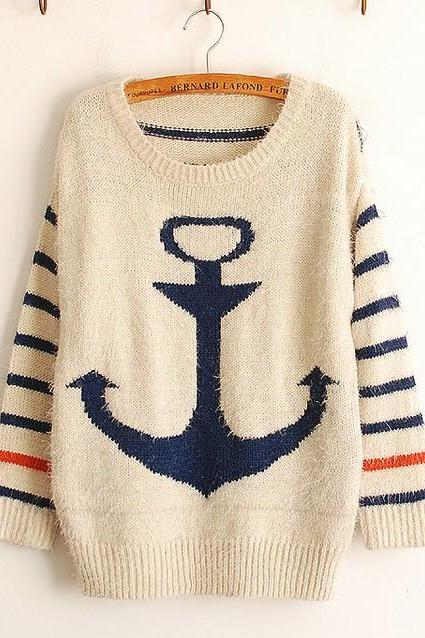 Fashion Women Striped Mohair Sweater