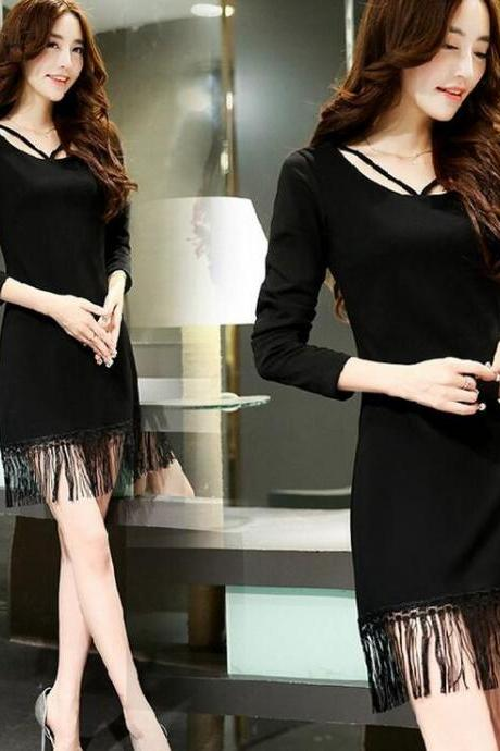 Long sleeve black tassel dress