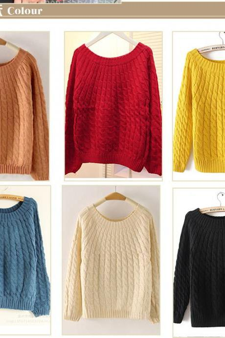 Cabled Pullover Sweater In Many Colors