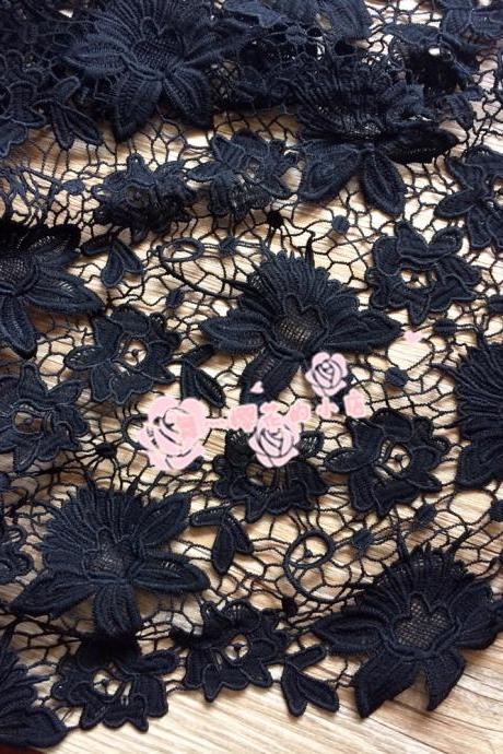 Flower Pattern Guipure Lace Black Cord Lace Fabric 47/48 Inch Width Sold At Yard