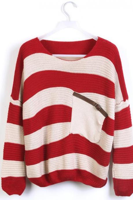 Fashion Red Striped Loose Women's Sweater