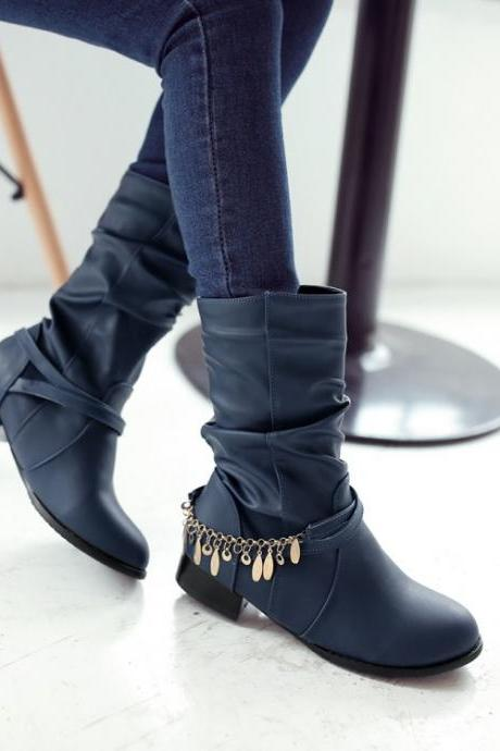 Women's Pure Color Low Heel Round Toe Metal Chain Medium Length Boots