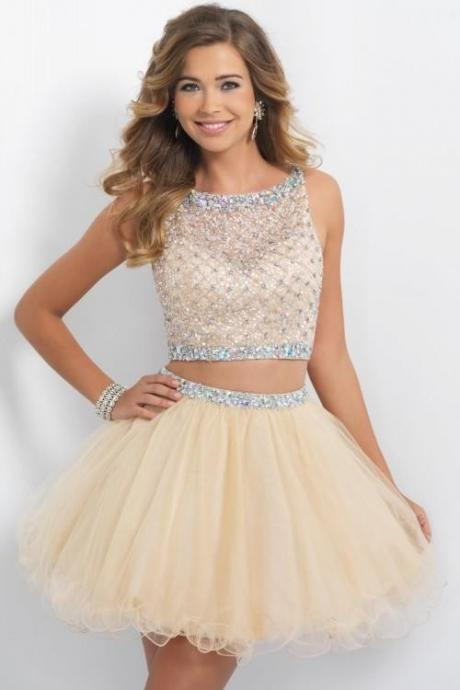 Sexy Two Pieces Homecoming Dresses 2015 Champagne Beaded Sweet 16 Dresses Vestidos Sheer Beach Wedding Party Dress