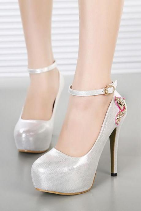 Women's Pure Color High Heel Platform Band Metal Pumps