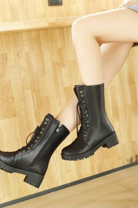 Women's Pure Color Low Heel Shoelace Medial Length Boots