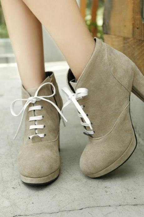 Women's Pure Color High Heel Shoelace Thick Heel Short Boots