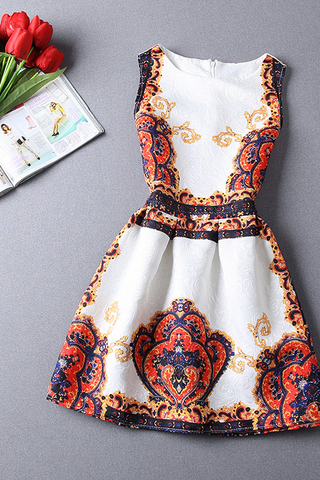 SLIM JACQUARD PRINTED SLEEVELESS DRESS