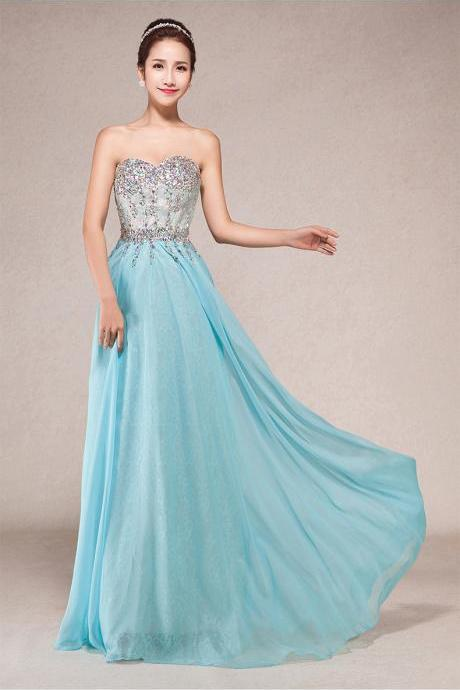 Charming Prom Dress,Chiffon Dress,Long Prom Dress,Beading Prom Dress,Sweetheart Prom Dress