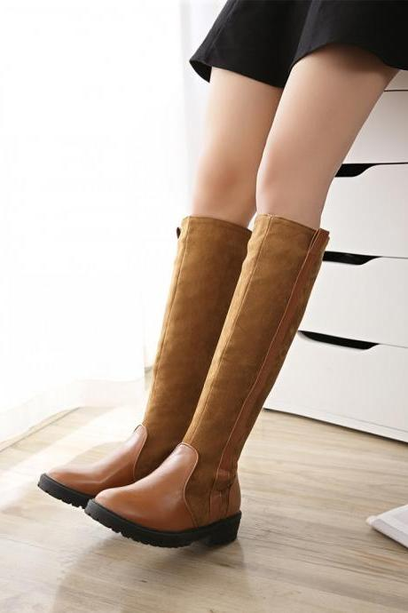 Women's Low Heel Round Toe Suede Simple Long Boots