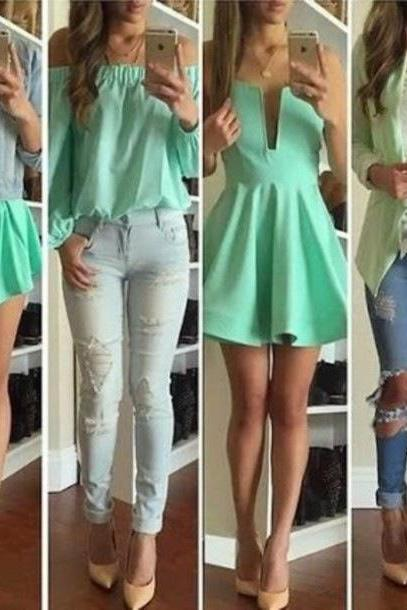 HOT GREEN CUTE DRESS AND ROMPER