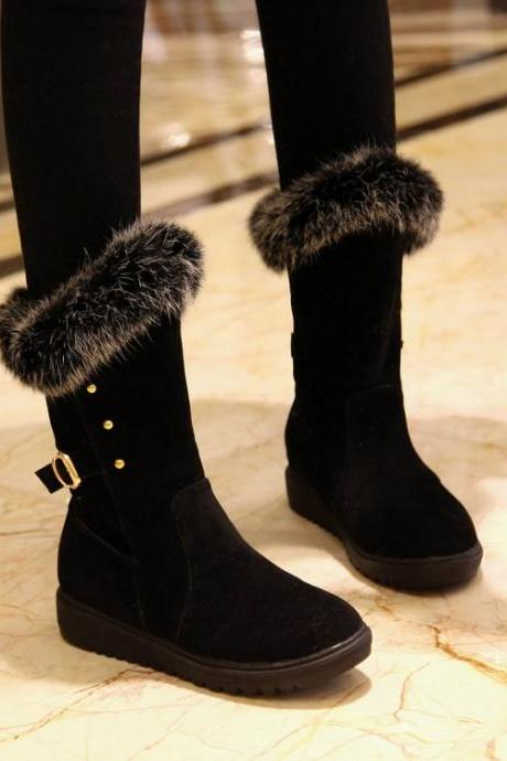 Women's Pure Color Wedge Heel Suede Wool Buckle Medium Length Boots