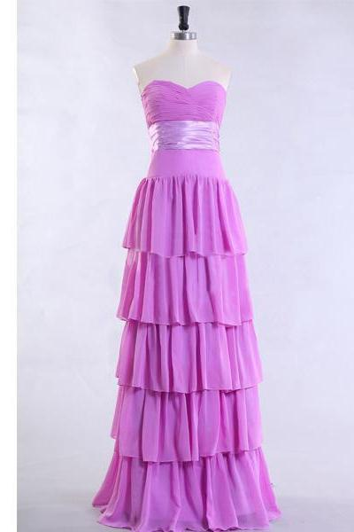 Purple Prom Dress Tiered Prom Dress Long Prom Dress Empire Waist Prom Dress Pleats Ruching Prom Dress Chiffon Prom Dress