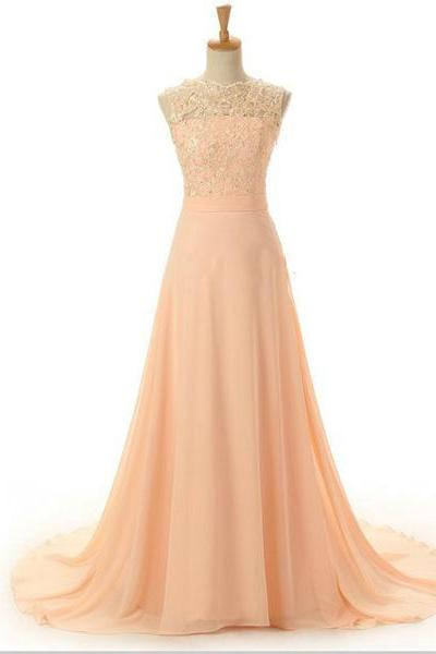 Peach Evening Dress Lace Evening Dress Long Evening Dress Chiffon Evening Dress Backless Evening Dress Floor-length Evening Dress