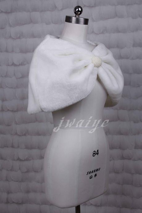 White / ivory faux fur shawl bride bridesmaid short coat jacket shrug bolero Accessories