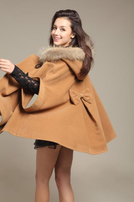 Coat Cape Jacket In Camel
