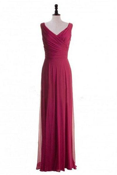 Red V-neck Pleats Ruching A-line Zipper Long Bridesmaid Dress Evening Gown Prom Dress