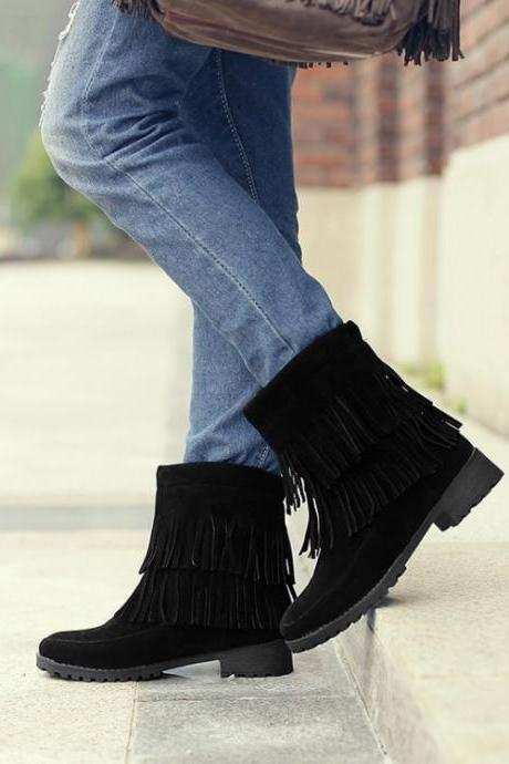 Women's Pure Color Low Heel Thick Heel Suede Tassel Short Boots