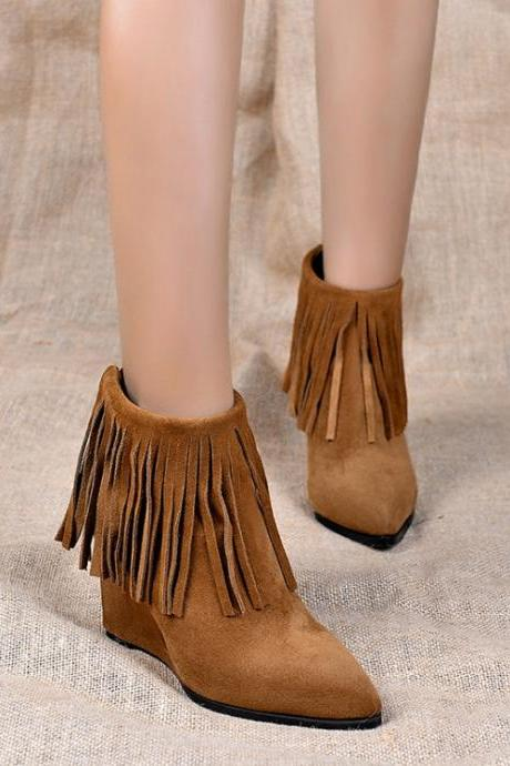 Women's Pure Color High Heel Wedge Heel Suede Tassel With Back Zippers Martin Boots