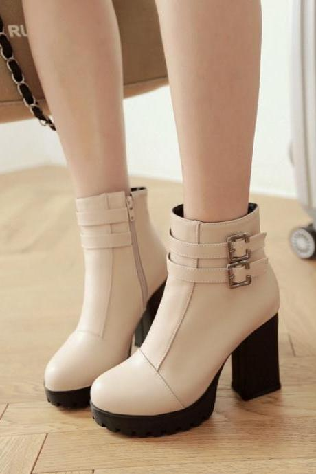 Women's Pure Color Thick Heel High Heel With Side Zippers Short Boots