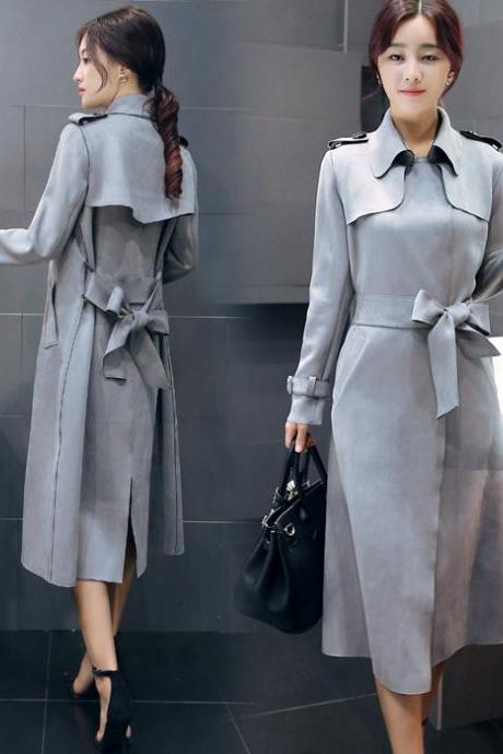 Grey Suede Plus Size Long Trench Coat For Women OL Fashion Windbreaker Outerwear