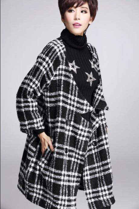 Plaid Wool Coat Women Winter Jacket Woolen Overcoat Plus Size Outerwear Outerwear