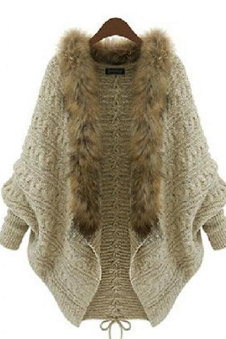 Loose Beige Bat Sleeve Wool Collar Lace-Up Sweater