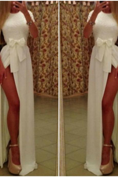 White Elegance Side Slit Long Dress With Bow
