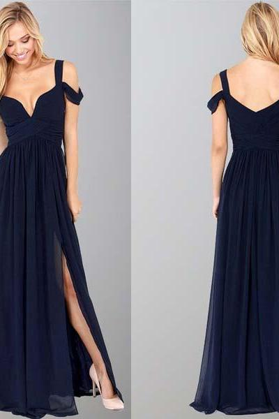 long prom dress, navy blue prom dress, off shoulder prom dress, cheap prom dress, chiffon prom dress, side slit evening dress, 141009