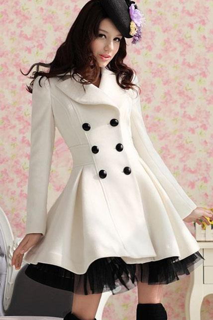 2015 Beautiful Elegant White Double Breasted Long Coat
