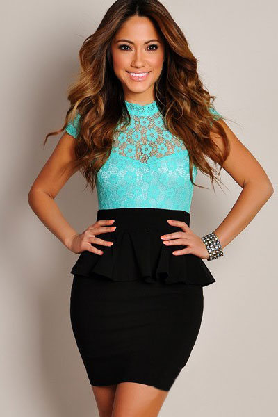 Black Sexy Lace Peplum Dress