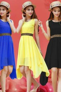 Sleeveless Chiffon High Low Dress In 7 Colors