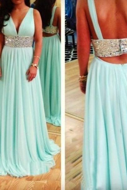 Backless Prom Dresses,Light Blue Prom Dress,Open Backs Prom Gown,Open Back Prom Dresses,Evening Gowns,2016 Open Backs Evening Dresses