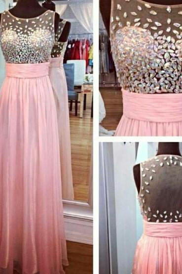Beaded Embellished Sweetheart Illusion Pink Chiffon Floor Length A-Line Formal Dress Featuring Illusion Open Back, Prom Dress