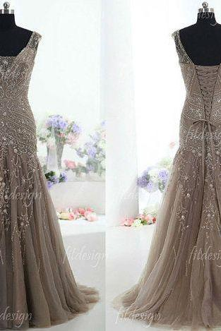 long prom dress, gray prom dress, party prom dress, ball gown, v-neck prom dress, sparkle prom dress, 2015 prom dress, 141018