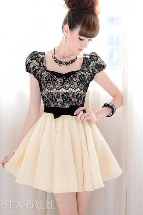 Black Sexy Lace And Bow Knot Design Puff Sleeve Dress