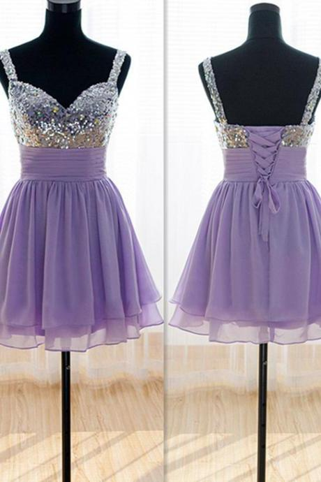 Knee Length Straps Prom Dress,Sweetheart Cocktail Dress,Straps Occasion Dress