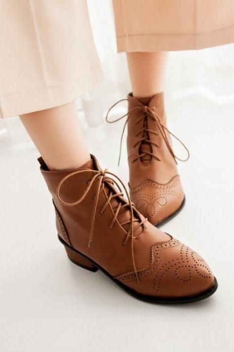 Women's Pure Color Flat Heel Leather Shoelace Short Knight Boots