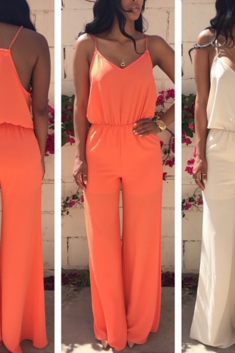 HOT ORANGE WHITE JUMPSUIT