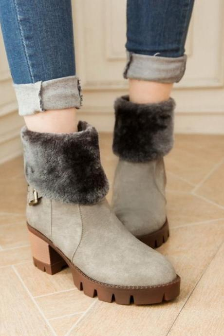 Women's Pure Color Thick Heel Wool Band Medium Length Boots