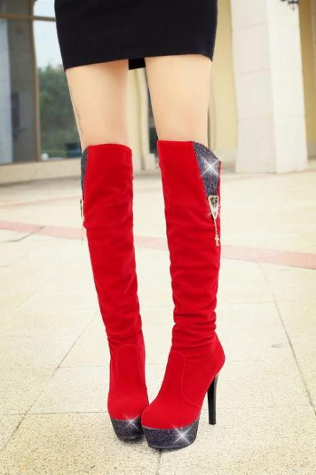 Women's Pure Color High Heel Thin Heel Paillette Long Martin Boots
