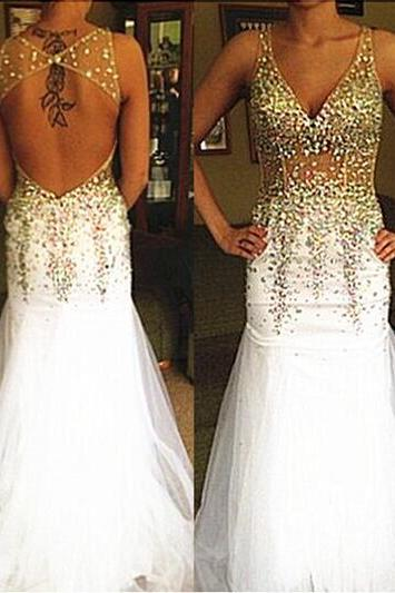 New Prom Dresses, Sexy Evening Dresses, Beading Prom Dresses, Party Dresses, V-Neck Prom Dresses, Backless Prom Dresses, Floor-Length Prom Dresses, Custom Prom Dresses